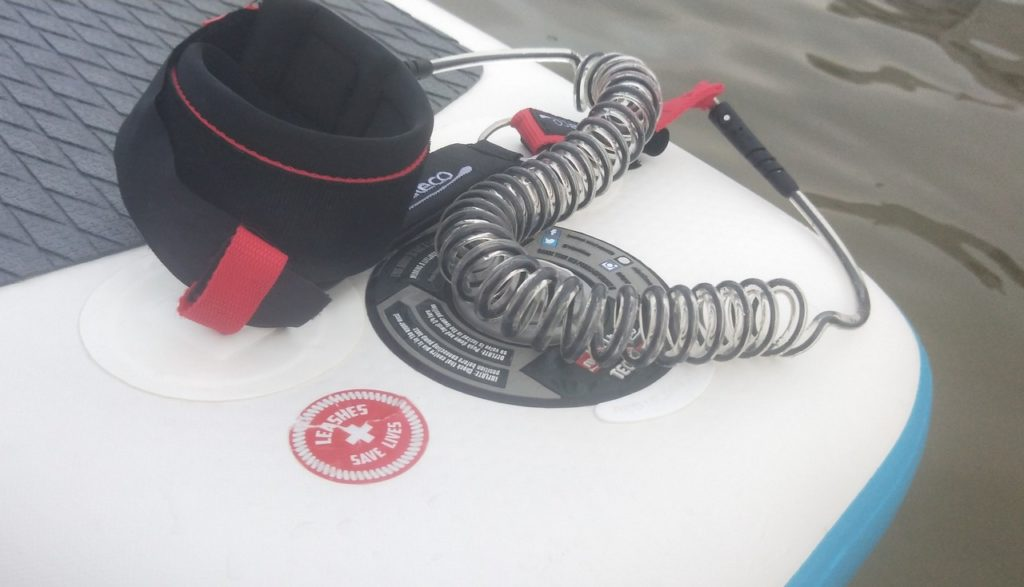 Leash on SUP board