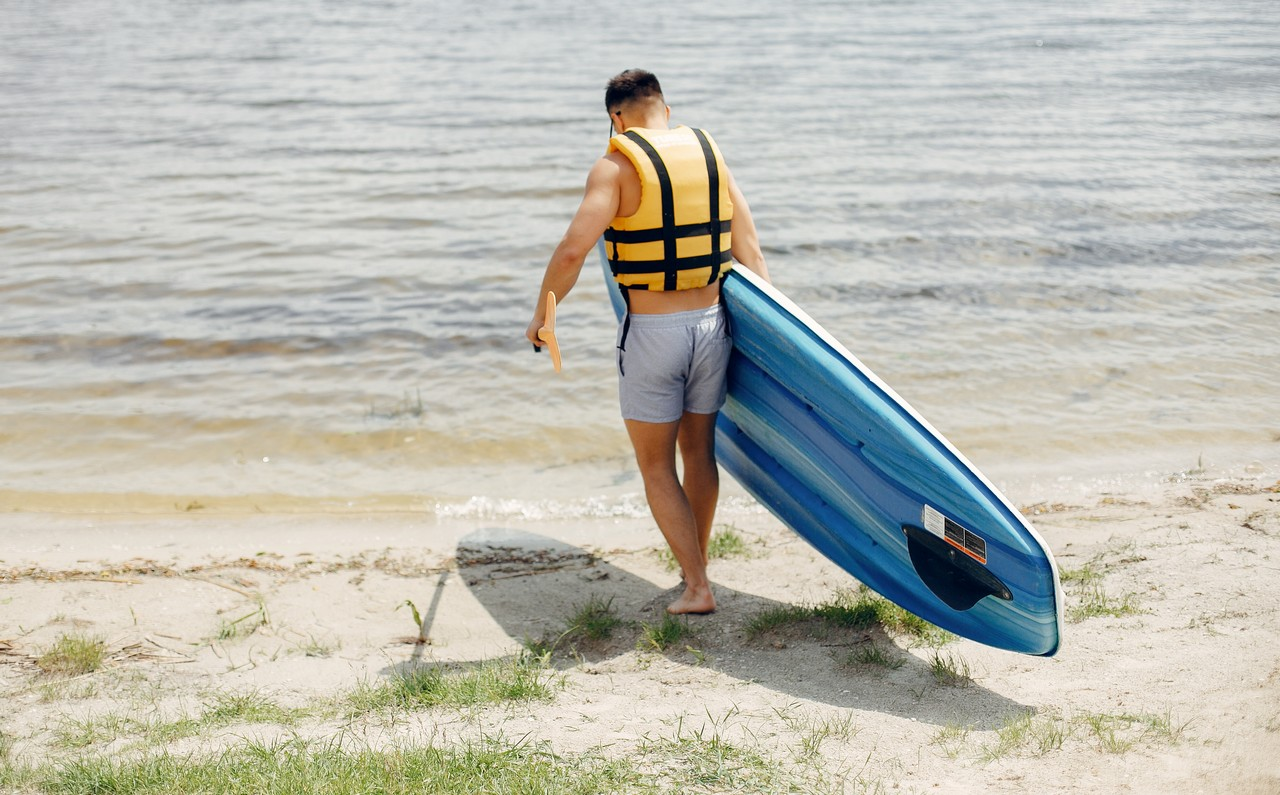 SUP board and life vest
